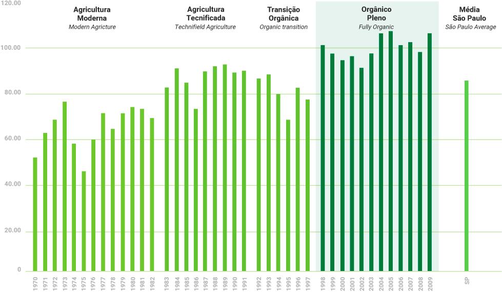 Evolução da produtividade agrícola da ufra  - t/ha